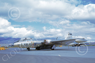 B-57ANG 00017 A static bare metal Nevada ANG Martin B-57 Canberra 21565 Reno 6-1963 airplane picture by Duane A Kasulka