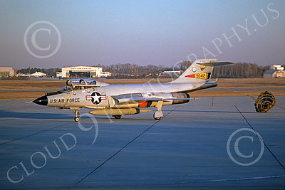 F-101BANG 00065 A taxing McDonnell F-101B Voodoo New York ANG 90412 Andrews AFB 12-1974 military airplane picture by Bob Jeffers