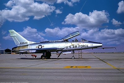 F-100-ANG-AZ 015 A static silver North American F-100F Super Sabre jet fighter, Arizona ANG, 63944, 3-1978 Tucson, military airplane picture by Stephen W  D  Wolf   CCC_1495   Dt
