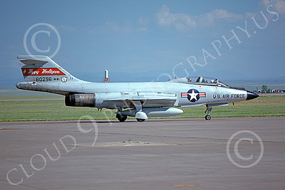 F-101BANG 00005 A taxing McDonnell F-101B Voodoo North Dakota ANG 80296 Happy Hooligans 3-1976 Travis AFB military airplane picture by Peter B Lewis