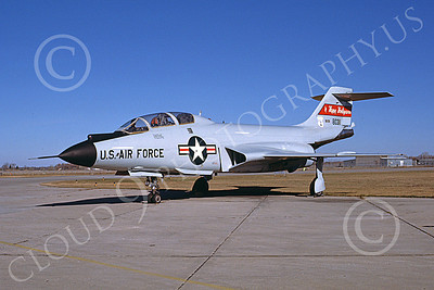 F-101BANG 00001 A static McDonnell F-101B Voodoo North Dakota ANG 80311 Happy Hooligans 2-1986 military airplane picture by Kevin L Patrick