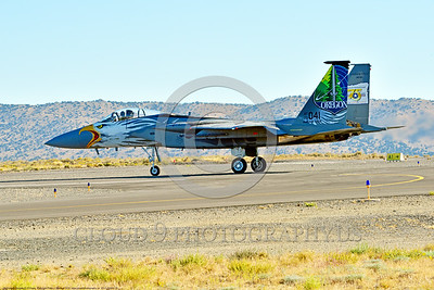 EE-F-15ANG 0025 A colorful one-of-a-kind paint scheme McDonnell Douglas F-15 Eagle air superiority jet fighter Oregon Air National Guard 79041 on runway for take-off at Stead for Reno Air Races 9-2016 military airplane picture by Peter J  Mancus