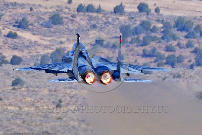 EE-F-15ANG 0009 A low flying one-of-a-kind colorful paint scheme McDonnell Douglas F-15 Eagle air superiority jet fighter Oregon Air National Guard 79041 in afterburner at Stead for Reno Air Races 2016 military airplane picture by Peter J  Mancus