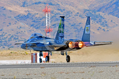 EE-F-15ANG 0018 A colorful one-of-a-kind paint scheme McDonnell Douglas F-15 Eagle air superiority jet fighter Oregon Air National Guard 79041 take-off roll at Stead for Reno Air Races 9-2016 military airplane picture by Peter J  Mancus