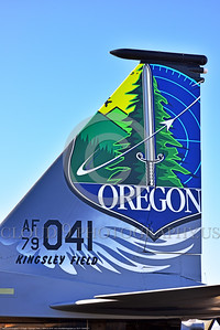 EE-F-15ANG 0011 Close up of the twin tails of a one-of-a-kind colorful paint scheme McDonnell Douglas F-15 Eagle air superiority jet fighter Oregon Air National Guard 79041 at Stead for Reno Air Races 2016 military airplane picture by Peter J  Mancus