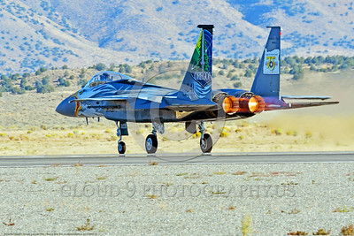 EE-F-15ANG 0004 A one-of-a-kind colorful paint scheme McDonnell Douglas F-15 Eagle air superiority jet fighter Oregon Air National Guard 79041 in afterburner for take-off at Stead for Reno Air Races 2016 military airplane picture by Peter J  Mancus