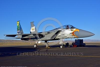 EE-F-15ANG 0014 A static one-of-a-kind colorful paint scheme McDonnell Douglas F-15 Eagle air superiority jet fighter Oregon Air National Guard 79041 at Stead for Reno Air Races 2016 military airplane picture by Peter J  Mancus
