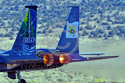 EE-F-15ANG 0007 Close up of a one-of-a-kind colorful paint scheme McDonnell Douglas F-15 Eagle air superiority jet fighter's engines in afterburner Oregon Air National Guard 79041 at Stead 2016 military airplane picture by Peter J  Mancus
