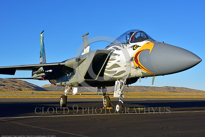 EE-F-15ANG 0010 A static one-of-a-kind colorful paint scheme McDonnell Douglas F-15 Eagle air superiority jet fighter Oregon Air National Guard 79041 at Stead for Reno Air Races 2016 military airplane picture by Peter J  Mancus