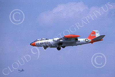 B-57ANG 00002 A landing gray-orange Vermont ANG Martin B-57 Canberra 21516 1-1979, by Michael Grove, Sr