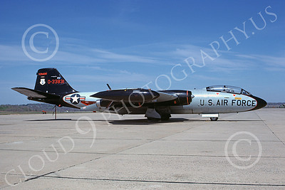 B-57ANG 00007 A static gray-black Vermont ANG Martin B-57 Canberra 533831 5-1977 military airplane picture by Michael Grove, Sr