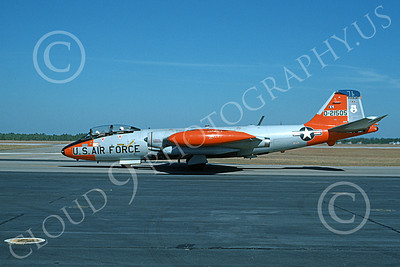 B-57ANG 00013 A taxing gray-orange Vermont ANG Martin B-57 Canberra 21505 BICENTENNIAL Tyndall AFB 11-1976 airplane picture by L B Sides