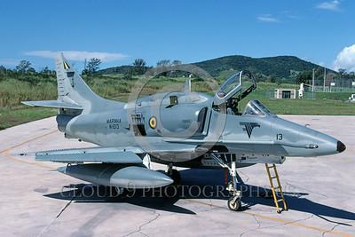 A-4Forg-Braz 0001 A static Brazilian Navy Douglas A-4 Skyhawk attack jet 6-2003 military airplane picture by Ken Ingle