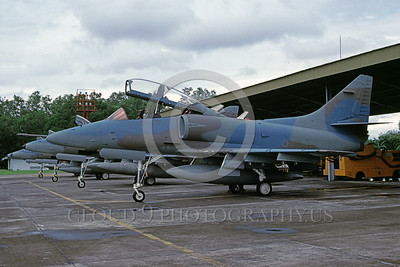 A-4Forg-Ind 0005 A static Indonesian Air Force Douglas TA-4J Skyhawk attack jet, TL-0418, 8-2002, military airplane picture, by Bettaro Segio