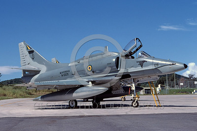 A-4Forg-Braz 0009 A static Brazilian Navy Douglas A-4 Skyhawk attack jet 6-2003 military airplane picture by Ken Ingle