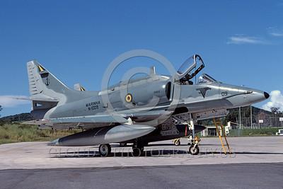 A-4Forg-Braz 0009 A static Brazilian Navy Douglas A-4 Skyhawk attack jet 6-2003 military airplane picture by Ken Ingle