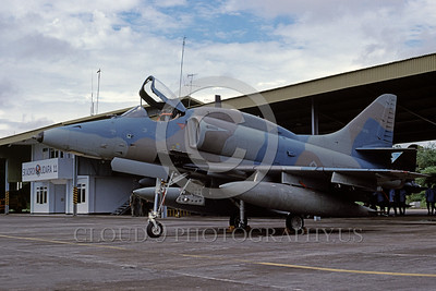 A-4Forg-Ind 0007 A static Indonesian Air Force Douglas A-4E Skyhawk attack jet, TT-0431, 8-2002, military airplane picture by Bettaro Segio
