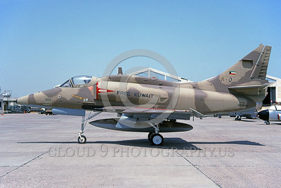 A-4Forg-Kuw 0007 A static Kuwait Air Force Douglas A-4KU Skyhawk attack jet, 805 160184, Kuwait City AB 5-1993, military airplane picture, by Michel Fournier