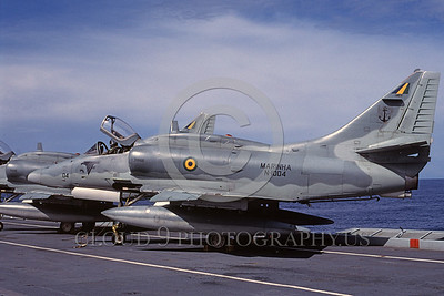 A-4Forg-Braz 0013 A static Brazilian Navy Douglas A-4 Skyhawk attack jet on an aircraft carrier, 4-2003, military airplane picture, by Luc Hornstra