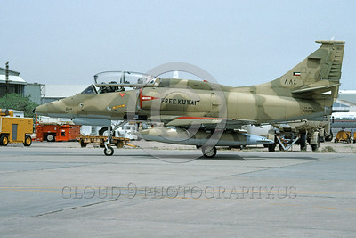 A-4Forg-Kuw 0005 A static Kuwait Air Force Douglas A-4KU Skyhawk attack jet, 884 160213, Kuwait City AB 5-1993, military airplane picture, by Michel Fournier