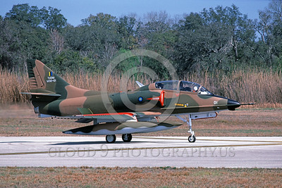 A-4Forg-Braz 0019 A taxing Brazilian Navy Douglas TA-4 Skyhawk attack jet St Augistine 3-1985 military airplane picture by Ron Picciani