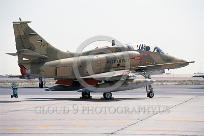 A-4Forg-Kuw 0013 A static Kuwait Air Force Douglas A-4 Skyhawk attack jet, 160215, Kuwait City AB 5-1993, military airplane picture, by Michel Fournier