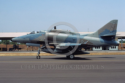 A-4Forg-Ind 0001 A taxing Indonesian Air Force Douglas A-4E Skyhawk attack jet, TT-0402, Hasanuddin 8-2002 military airplane picture by Bettaro Segio
