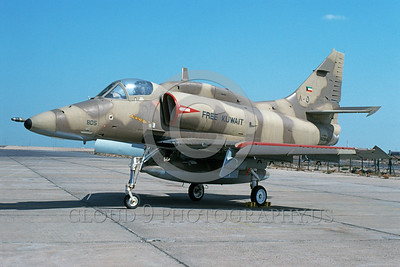 A-4Forg-Kuw 0003 A static Kuwait Air Force Douglas A-4KU Skyhawk attack jet, 805 160184, Kuwait City AB 2-1994, military airplane picture, by Michel Fournier