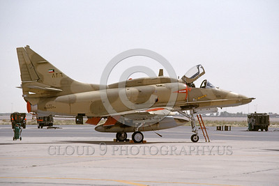 A-4Forg-Kuw 0009 A static Kuwait Air Force Douglas A-4KU Skyhawk attack jet, 160205, Kuwait City AB 5-1993, military airplane picture, by Michel Fournier