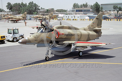 A-4Forg-Kuw 0001 A taxing Kuwait Air Force Douglas A-4 Skyhawk attack jet, 820-160199, Kuwait City AB 5-1993 military airplane picture by Michel Fournier
