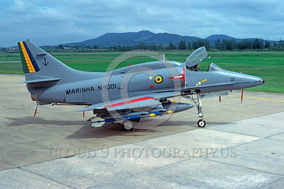 A-4Forg-Braz 0005 A static Douglas A-4 Skyhawk Brazilian Navy N-1001 attack jet 3-1999 military airplane picture via African Aviation Slide Service