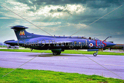 Hawker Siddeley Buccaneer-RN 001 A taxing blue Hawker Siddeley Buccaneer, British Royal Navy carrier based strike jet, XT280 9-1968 Yeovilton, military airplane picture by Stephen W  D  Wolf     853_6252     Dt