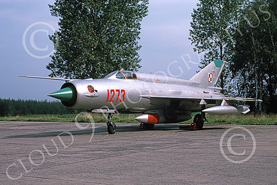 MiG-21 00083 A static MiG-21 Fishbed jet fighter Polish Air Force 1273 9-1994 military airplane picture by Peter R Foster