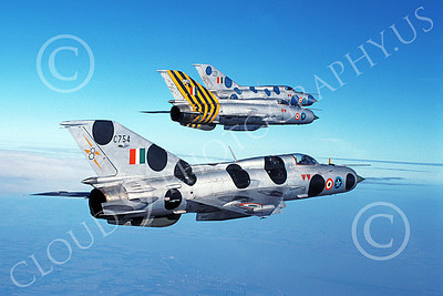 MiG-21 00084 Three flying Mikoyan-Guryevich MiG-21 Fishbed jet fighters Indian Air Force 11-1990 military airplane picture by P Steinemann