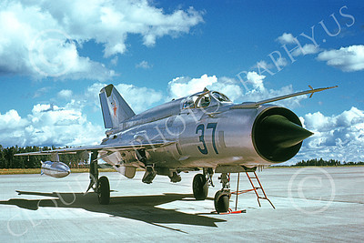 MiG-21 00061 A static Mikoyan-Guryevich MiG-21 Fishbed Soviet Air Force 37 5-1974 military airplane picture by Wilfried Zetsche