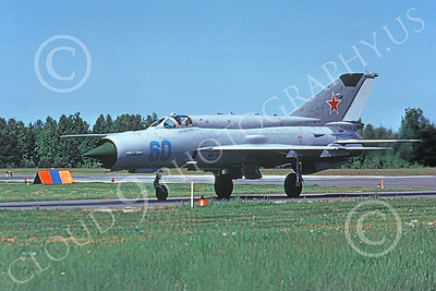 MiG-21 00059 A taxing Mikoyan-Guryevich MiG-21 Fishbed Soviet Air Force 05 8-1992 military airplane picture 6-1975 by Wilfried Zetsche