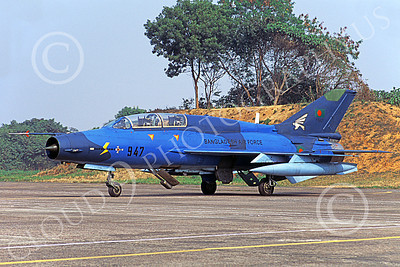 MiG-21U 00027 A static blue Mikoyan-Guryevich MiG-21U Mongol Bangladesh Air Force 947 military airplane picture by Rogier Westerhuis