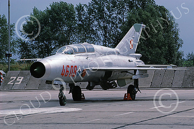 MiG-21U 00015 A static MiG-21U Mongol Polish Air Force 4608 9-1991 military airplane picture by W Gysin-Aegerter