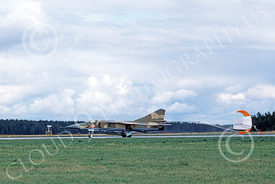 MiG-23UB 00011 A taxing two seat Mikoyan-Guryevich MiG-23UB Flogger Soviet Air Force 8-1982 with deployed chute military airplane picture by Klaus Niska