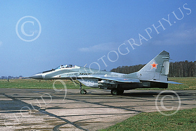 MiG-29 00039 A taxing Mikoyan-Guryevich MiG-29 Fulcrum Soviet Air Force 09 8-1991 military airplane picture by James Kuntz