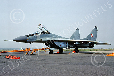 MiG-29 00073 A static MiG-29 Fulcrum Polish Air Force 70 7-1990 military airplane picture by W Gysin-Aegerter