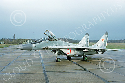MiG-29 00057 A static Mikoyan-Guryevich MiG-29 Fulcrum jet fighter Soviet Air Force 21 7-1993 military airplane picture by H J van Broekhulzen