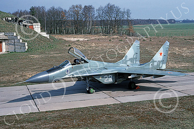 MiG-29 00055 A static Mikoyan-Guryevich MiG-29 Fulcrum jet fighter Soviet Air Force 23 4-1993 military airplane picture by Wilfreid Zetsche