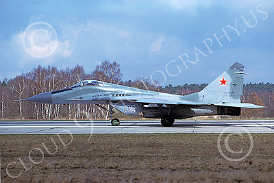 MiG-29 00065 A taxing Mikoyan-Guryevich MiG-29 Fulcrum jet fighter Soviet Air Force 06 4-1994 military airplane picture by Wilfreid Zetsche