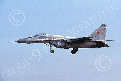 MiG-29 00028 A landing Mikoyan-Guryevich MiG-29 Fulcrum jet fighter Soviet Air Force 07 8-1991 military airplane picture by Wilfreid Zetsche