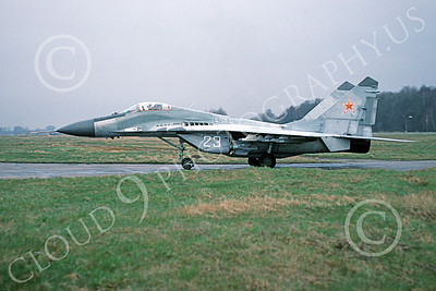 MiG-29 00061 A taxing Mikoyan-Guryevich MiG-29 Fulcrum jet fighter Soviet Air Force 23 4-1994 military airplane picture by Wilfreid Zetsche