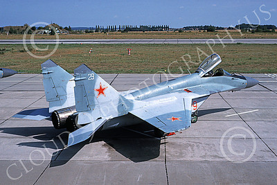 MiG-29 00043 A static Mikoyan-Guryevich MiG-29 Fulcrum Soviet Air Force 29 4-1994 military airplane picture by Bill Bradley