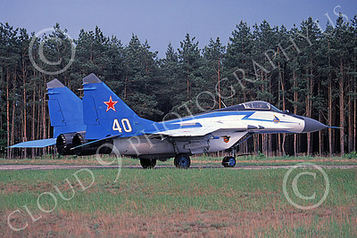MiG-29 00049 A taxing colorful Mikoyan-Guryevich MiG-29 Fulcrum Soviet Air Force 40 5-1994 military airplane picture by Jim Myers