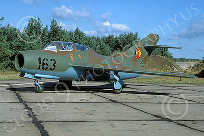 Mikoyan-Guryevich MiG-15UTI Fagot 00007 A static brown-green East German Air Force MiG-15UTI Fagot jet fighter trainer, 9-1990, by Wilfried Zetsche