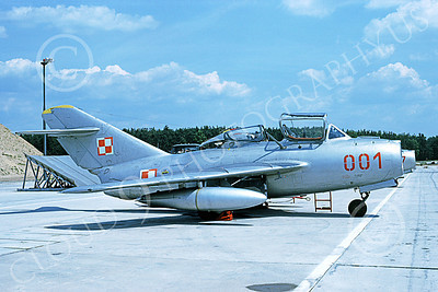 MiG-15UTI 00009 A static Mikoyan-Guryevich MiG-15UTI Fagot Polish Air Force 001 6-1990 military airplane picture by Wilfreid Zetsche